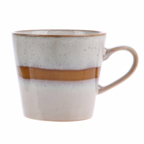 HK-living cappuccino mok snow keramiek '70's style 12x9,5x8,5cm