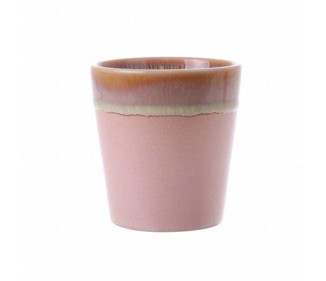 HK-living Tasse rosa Keramik '70er Jahre Stil 7,5x7,5x8cm