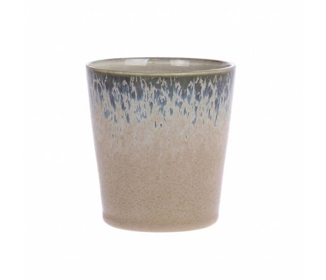 HK-living Becher Rinde Keramik 70er Jahre Stil 7,5x7,5x8cm