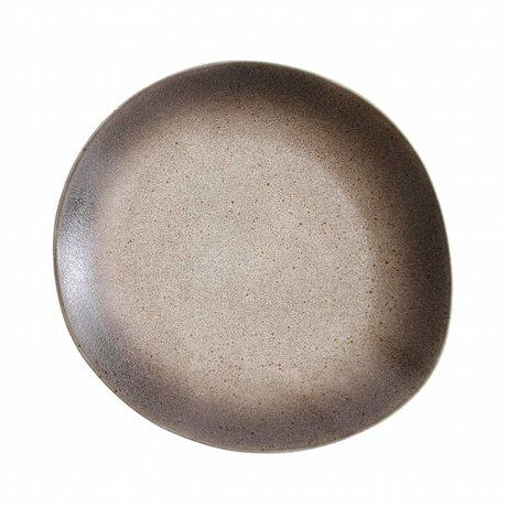 HK-living assiette en céramique de sable style années 70 ø22cm