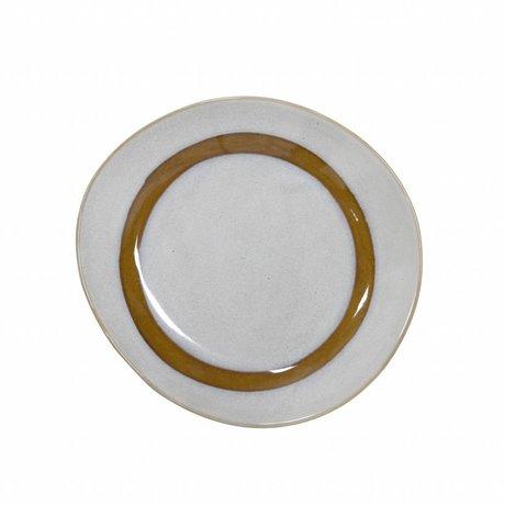 HK-living ontbijt bord snow keramiek '70's style ø22cm