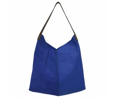 HK-living bag blue suede and leather 40x40 / 60x2cm