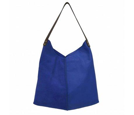 HK-living sac daim bleu et cuir 40x40 / 60x2cm