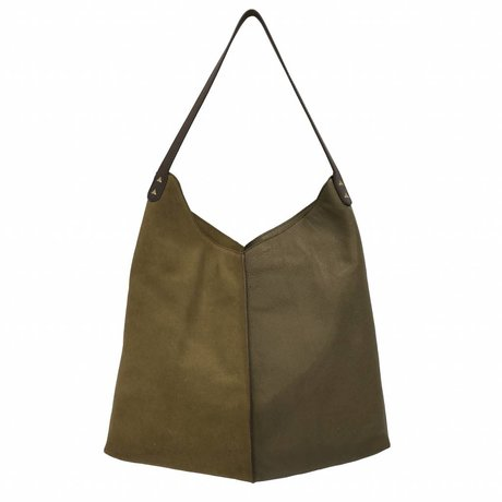 HK-living bag moss green suede and leather 40x40 / 60x2cm
