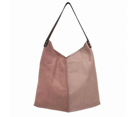 HK-living sac vieux daim rose et cuir 40x40 / 60x2cm