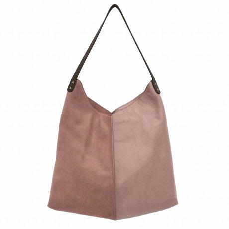 HK-living Tasche alt rosa Wildleder und Leder 40x40 / 60x2cm