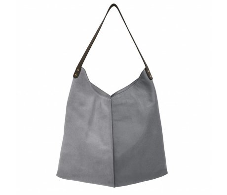 HK-living bag elephant gray suede and leather 40x40 / 60x2cm