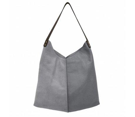 HK-living sac éléphant gris suède et cuir 40x40 / 60x2cm
