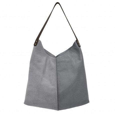 HK-living Tasche Elefant grau Wildleder und Leder 40x40 / 60x2cm