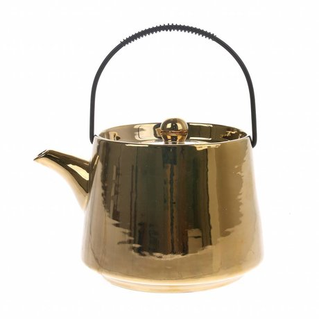 HK-living teapot gold ceramic bold & basic 16x13x11cm