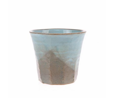 HK-living Becher grau blau Keramik fett & einfach 9,1x9,1x8,4cm