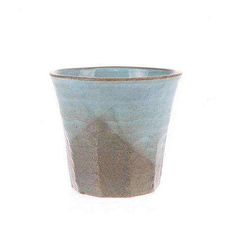 HK-living mok grijs blauw keramiek bold & basic 9,1x9,1x8,4cm