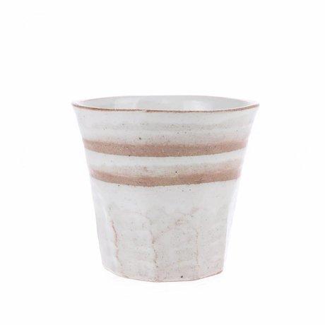 HK-living Becher weiß terra Keramik fett & basic 9,1x9,1x8,4cm