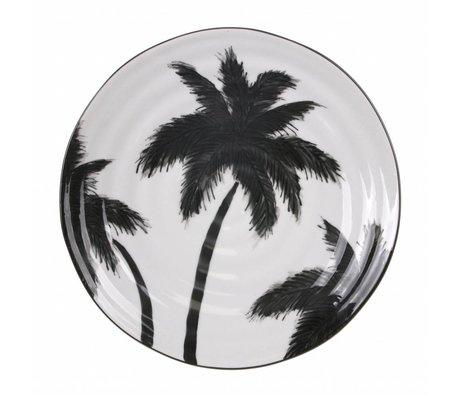 HK-living Platte mit Palmen Keramik Fett & Basic 26,5x26,5x1,5cm
