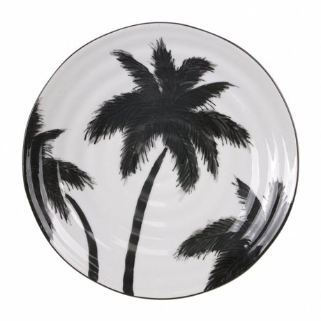 HK-living plate with palms ceramic bold & basic 26,5x26,5x1,5cm
