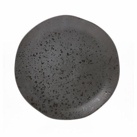 HK-living diner bord grijs keramiek bold & basic 28,5x28,5x3cm