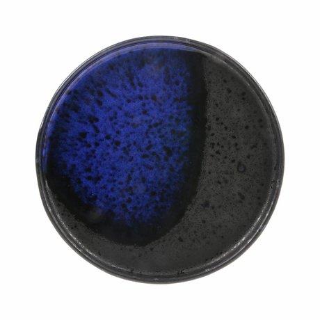 HK-living dessert bord kobalt zwart keramiek kyoto 17,5x17,5x1,8cm