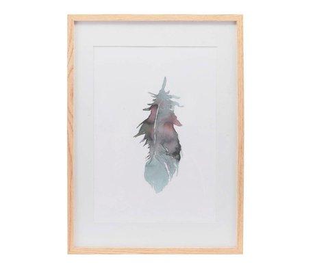 Housedoctor Poster met lijst Feather multicolour papier hout 39,7x55cm