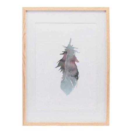 Housedoctor Affiche avec cadre Plume papier multicolore bois 39,7x55cm