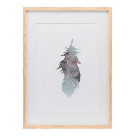 Housedoctor Poster with frame Feather multicolour paper wood 39,7x55cm