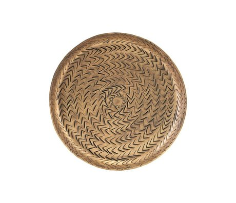 Housedoctor Tray Rattan brass gold aluminum Ø16cm