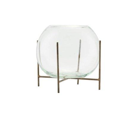 Housedoctor Vase debout Ada laiton or verre métal Ø15x12cm