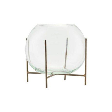 Housedoctor Vase standing Ada brass gold glass metal Ø15x12cm