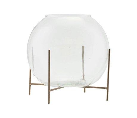 Housedoctor Vaas staand Ada bras goud glas metaal Ø20x16cm