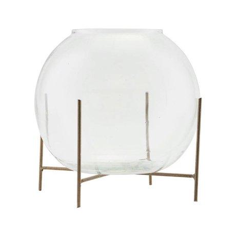 Housedoctor Vase standing Ada bras gold glass metal Ø20x16cm