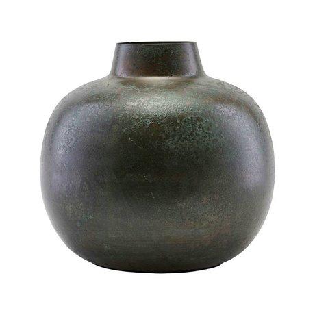 Housedoctor Vase Lama green brown steel Ø18,5x18cm