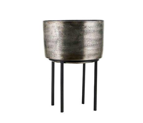 Housedoctor Plant pot Kazi silver aluminum iron Ø28,5x42cm