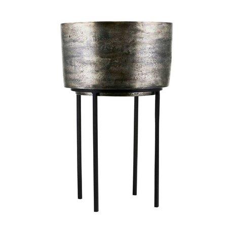 Housedoctor Cache-pot Kazi argent aluminium fer Ø33,5x54cm