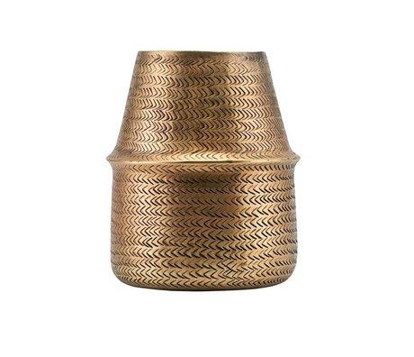 Housedoctor Vase Rattan laiton doré Ø19x23cm