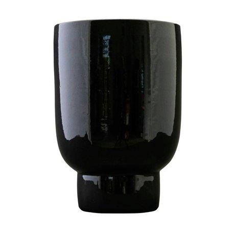 Housedoctor Plantenpot zwart faience Ø22x32cm
