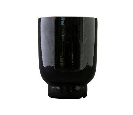 Housedoctor Plantenpot zwart faience Ø20x26cm