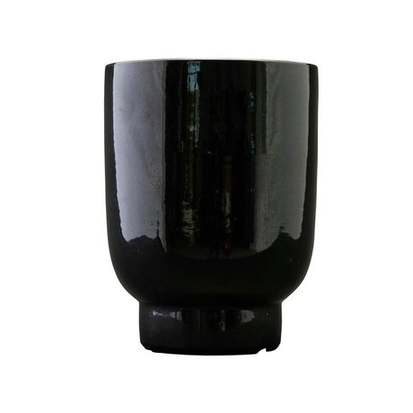 Housedoctor Cache-pot en faïence noire Ø20x26cm