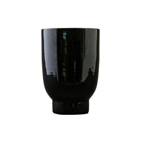 Housedoctor Plantenpot zwart faience Ø15x22cm