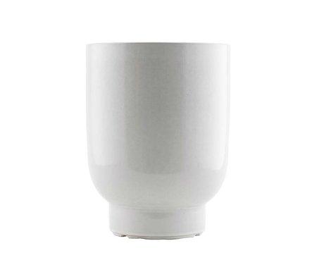 Housedoctor Cache-pot en faïence blanche Ø20x26cm