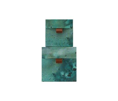 Housedoctor Opbergset Earth groen blauw leer karton S set van 2