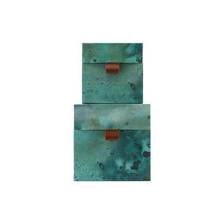 Housedoctor Set de rangement Carton de cuir bleu vert terre Lot de 2