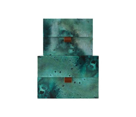 Housedoctor Ensemble de rangement Carton de terre en cuir bleu vert M ensemble de 2