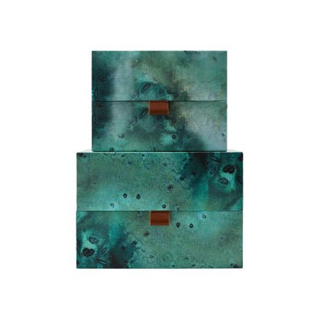 Housedoctor Opbergset Earth groen blauw leer karton M set van 2