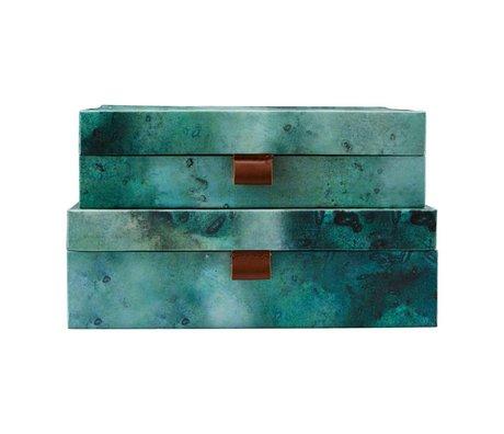 Housedoctor Set de rangement Carton de terre en cuir bleu vert L set de 2