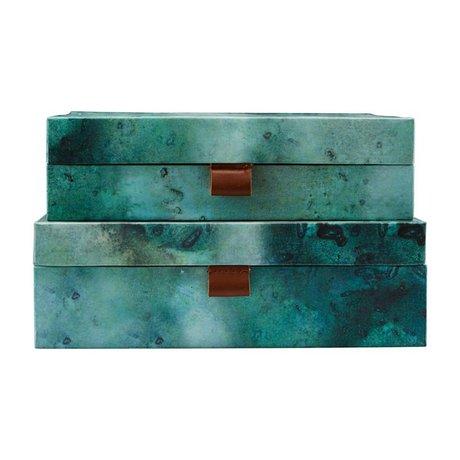 Housedoctor Opbergset Earth groen blauw leer karton L set van 2