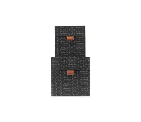 Housedoctor Opbergset Inka donker grijs leer karton S set van 2