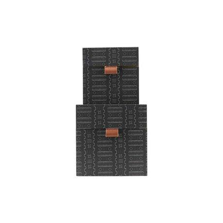 Housedoctor Aufbewahrungsset Inka dunkelgrauer Lederkarton S 2er Set