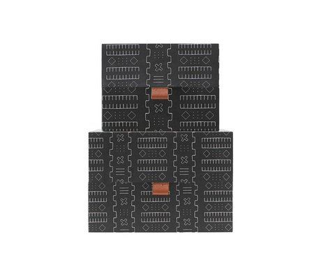 Housedoctor Opbergset Inka donker grijs leer karton M set van 2