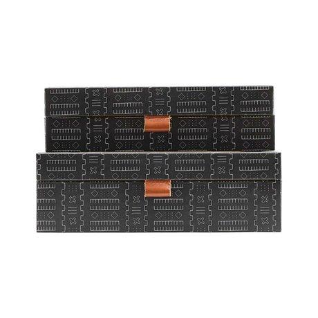 Housedoctor Set de rangement Inka carton gris foncé en cuir L lot de 2