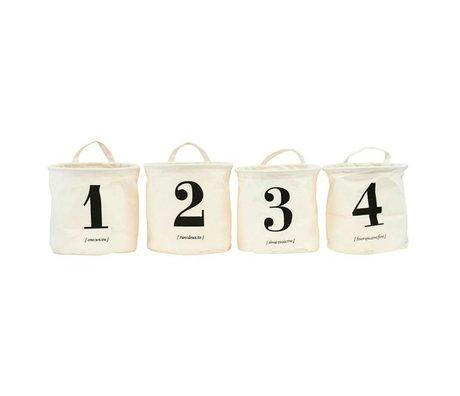Housedoctor Wäschekorb 1-2-3-4 Sortiment Cremeweiß schwarz Textilset von 4