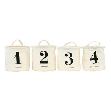 Housedoctor Wasmand 1-2-3-4 assorteret Crème wit zwart textiel set van 4